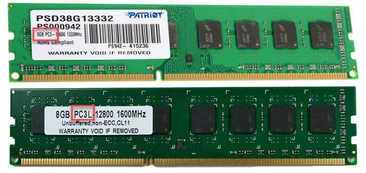 Маркировка на модулях оперативной памяти PC3 и PC3L