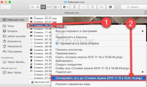 Как посмотреть путь к файлу на mac