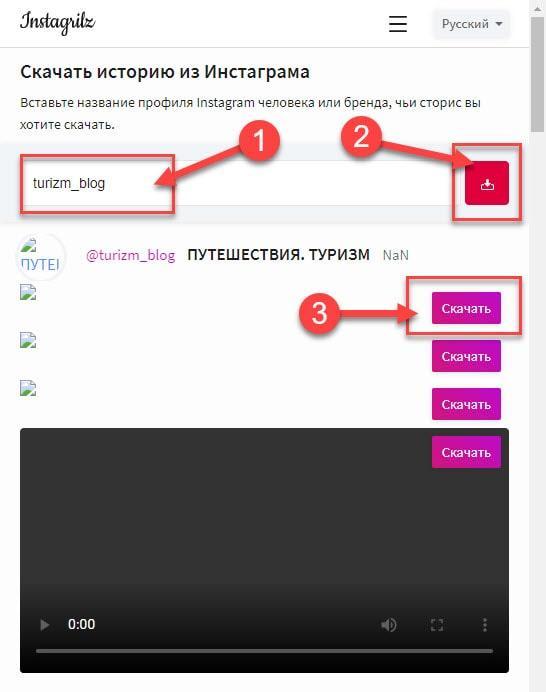 Инструкция по скачиванию сторис из инстаграмм при помощи сервиса Instagrilz