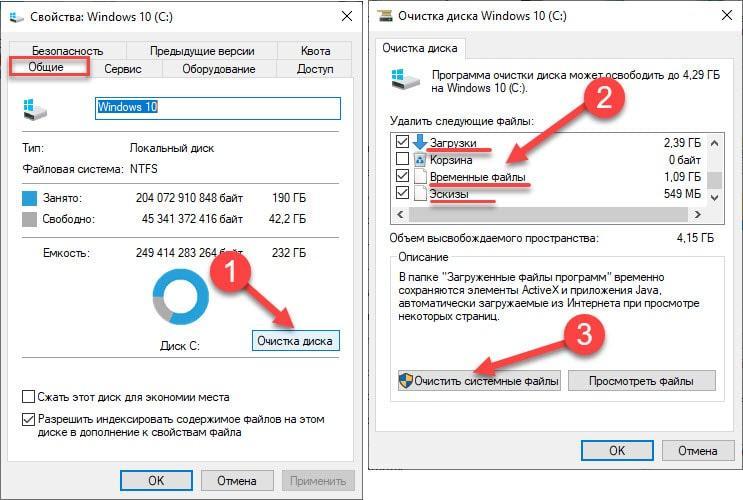 Очистка диска C от ненужных файлов при помощи стандартных средств Windows 10