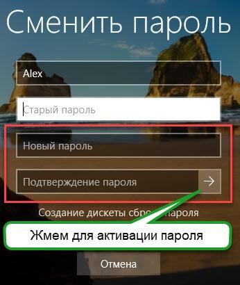 Поля для быстрой установки пароля в Win 10
