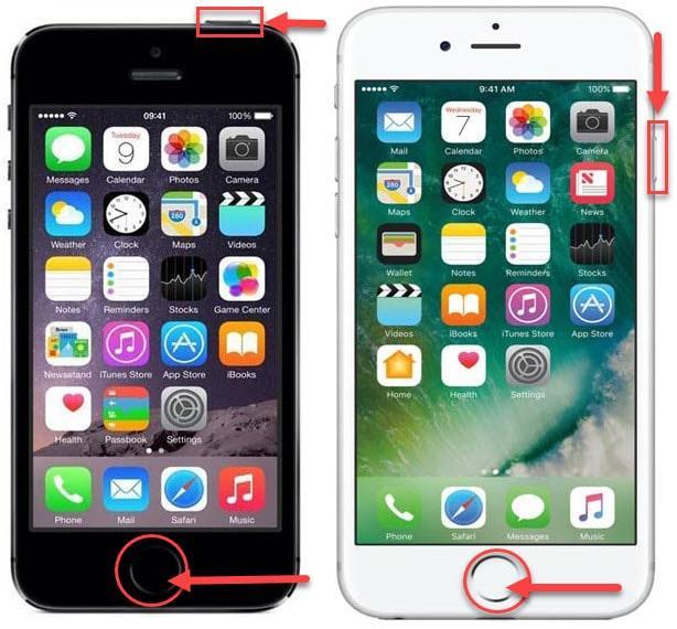 Создание скриншота экрана на моделях iPhone 5s b 6s с помощью функции Touch ID, боковой и верхней кнопки