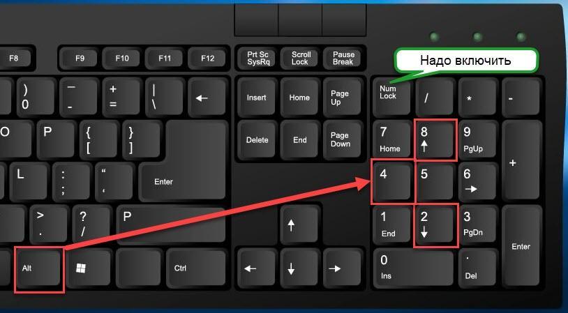 Ставим значок градуса цельсия на клавиатуре Alt+248