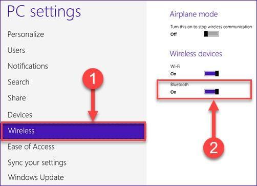 Включение bluetooth в Windows 8