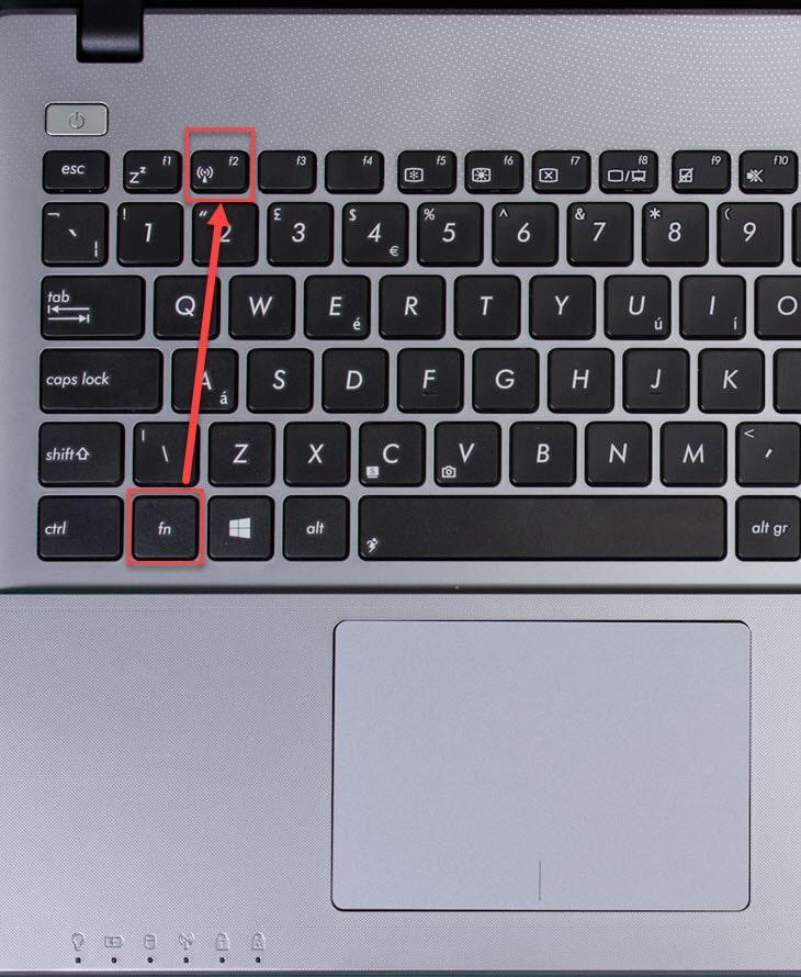 Включение блютуз на ноутбуке при помощи функциональных клавиш