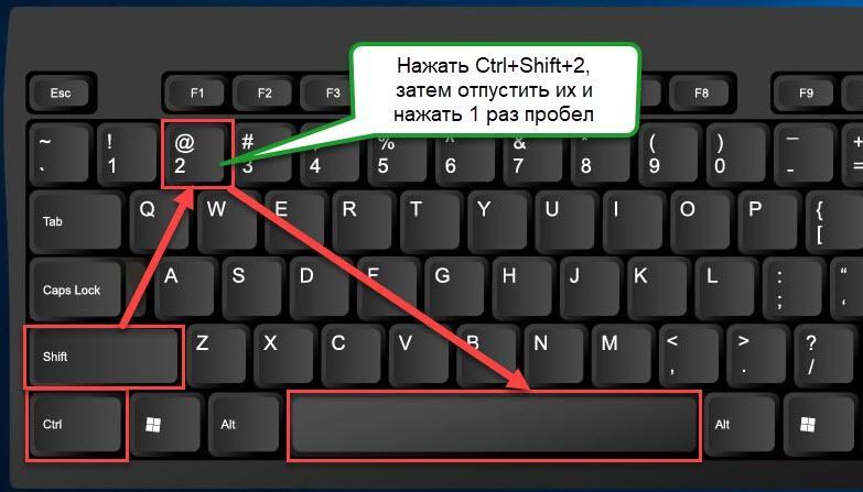как сделать градус на клавиатуре в ворде при помощи Ctrl+Shift+2 и пробела