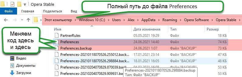 Полный путь к файлу Preferences в браузере опера