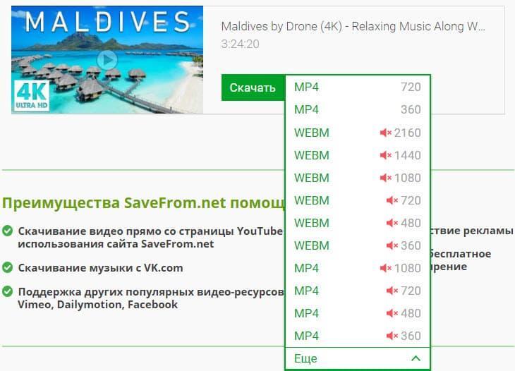 Выбор формата для сохранения видоса в Savefrom.net