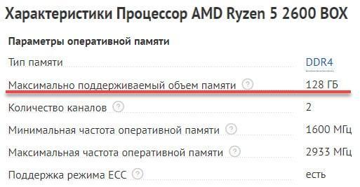 Максимальный объем поддерживаемой RAM на CPU Ryzen 5 2600