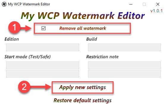 Удаление надписи активации Виндовс в My WCP Watermark Editor