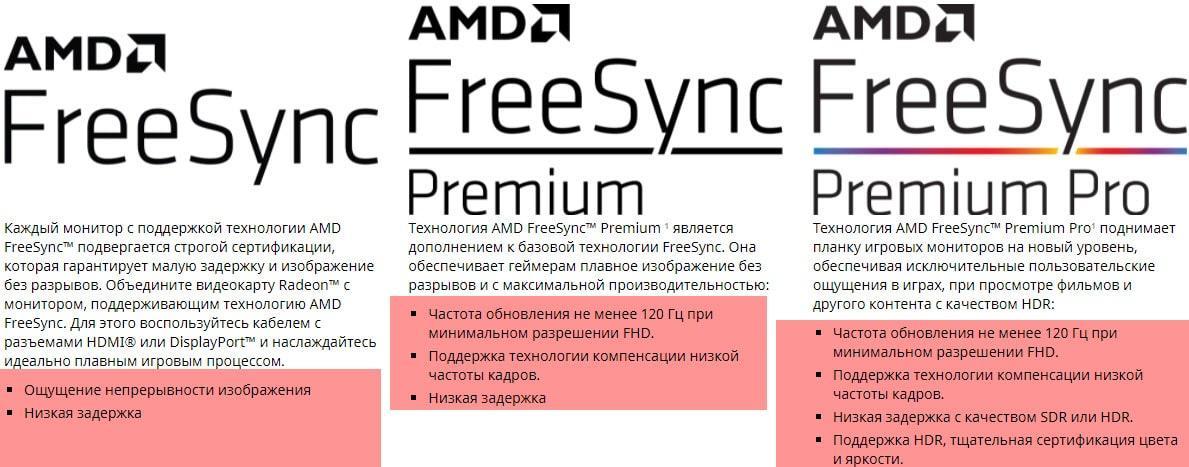 Различие технологии freesync между собой
