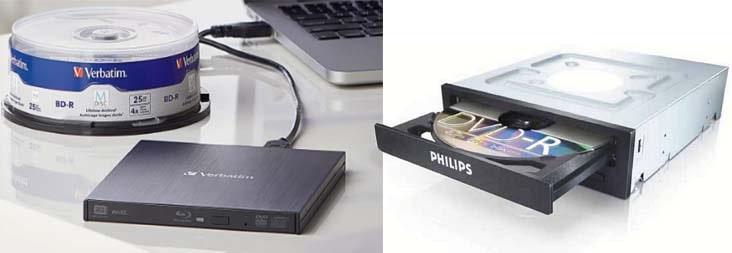 Внешний и внутренний привод для чтения и записи оптических дисков